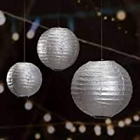 ROYALS Lantern Rice Hanging Paper Ball Lamp with Shades (Silver -Set of 5)