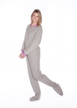 BIG Feet Seafoam Plaid Baumwolle Flanell Adult Footed Pajamas mit Drop-Sitz X-Groß Lavendel (Pajamas Footed Baumwolle)