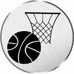 Pokal / Medaille Emblem, Motiv Basketball, Durchmesser 50 mm, silber