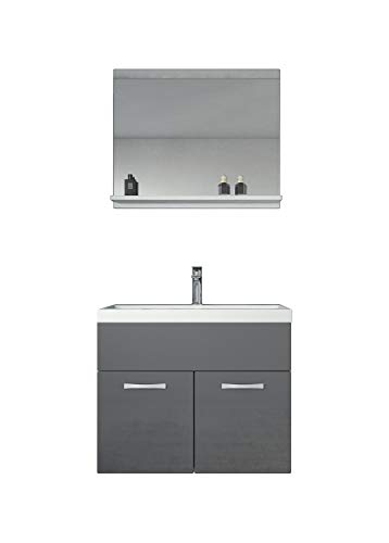 Badezimmer Badmöbel Montreal 02 Weiß mit Grau 60cm Waschbecken - Unterschrank Waschtisch Spiegel Möbel