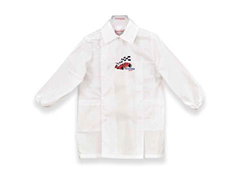 Ambrosino grembiule asilo bianco celeste quadretti racing team h604 bambino (tg. 50-3 anni - 98 cm, bianco)