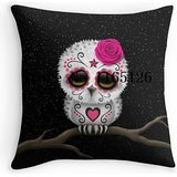 Kenneth case Hot Pillow cases Cute Pink Day of the Dead Sugar Skull Owl Luxury Printing Square Zippered 18X18 Inch(One Side)