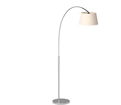 QAZQA Modern Moderne Bogenlampe Stahl/Silber/nickel matt mit weißem Stoffschirm - Arc Basic/Innenbeleuchtung/Wohnzimmerlampe Textil/Stahl Rund LED geeignet E27 Max. 1 x 20 Watt