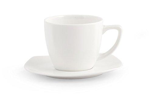 H&H & Tasse de Café avec Assiette Petit Déjeuner-Carrée-Céramique-Blanc