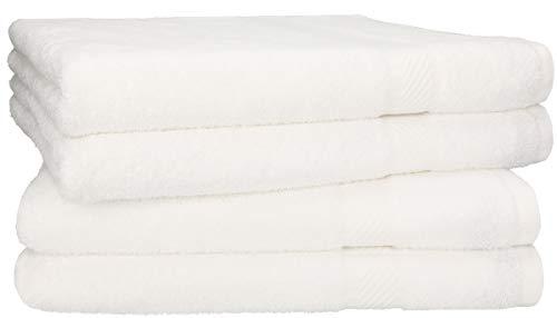 Betz 4 Stück Duschtücher Set Größe 70x140 cm 95°C waschbar 100% Baumwolle Badetuch Duschhandtuch Duschtuch Palermo Farbe weiß -
