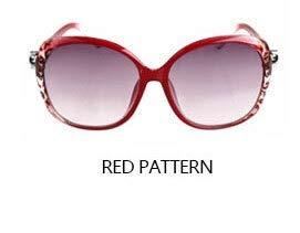 LIJINCHENG-Sunglass Retro Sonnenbrille Modetrend Sonnenbrille mit rundem Rahmen Strand für Frauen Persönlichkeit Retro Fox Big Frame Sonnenbrille (Lenses Color : Red Pattern)
