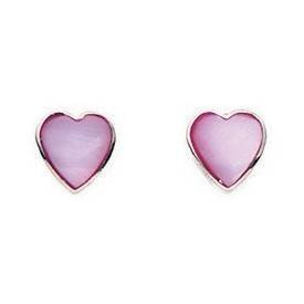 925 Silver Pink MOP Heart Stud 65