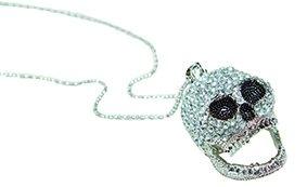 Rubie's Halskette Totenkopf mit Strass Silber 42cm (Rubies Glitzer Kostüme)