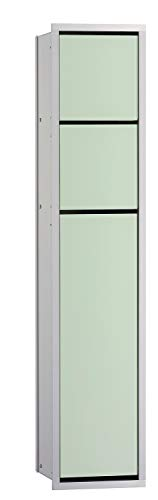 Emco Asis 150 Unterputz Badschrank für WC, Feuchttücher, Chrom/Glas weiß, Einbauschrank, Türanschlag wählbar - 975027850