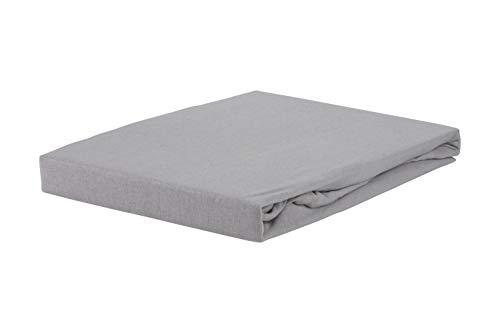 S.Ariba Soft Comfort Baumwolle Jersey-Stretch Spannbettlaken, Größen, Silber 70cmx140cm -