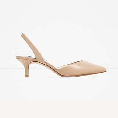 zhENfu Scarpe da donna in microfibra tacco basso tacchi / Punta / punta chiusa sandali abito bianco Nude