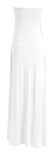 Fast Fashion – De Maxi Robe Plus Plaine Taille Knot Bow Bustier L'avant - Femmes Blanc