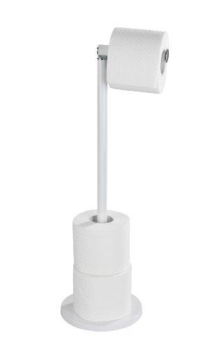 WENKO 21424100 Stand Toilettenpapierhalter 2 in 1 Weiß, Stahl, 17 x 55 x 21 cm, Weiß