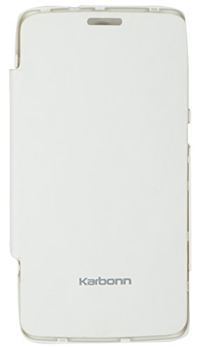 iCandy White Synthetic Leather Flip Cover For Karbonn A27+  available at amazon for Rs.99