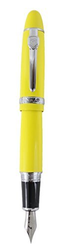 Sipliv 159 grande penna stilografica corpo, media pennino, giallo lucido, clip d'argento