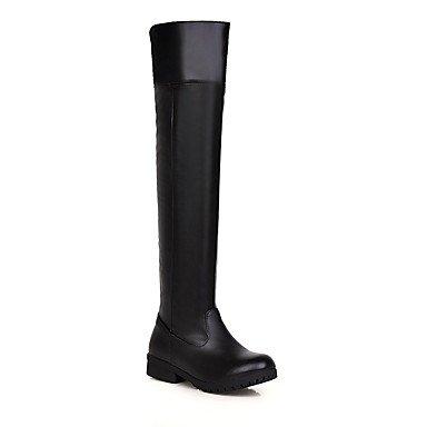 RTRY Scarpe da donna in similpelle di moda invernale Stivali Stivali da combattimento stivali punta tonda sopra il ginocchio stivali per ufficio Casual & Carriera Nero Marrone US9.5-10 / EU41 / UK7.5-8 / CN42