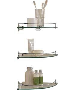 Confezione da 3 mensole ad angolo in vetro, ideali per
