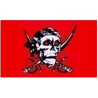 New Large Pirate red Skull and Cross Sabres Flag 5ft x 3ft with 2 Metal Eyelets.
