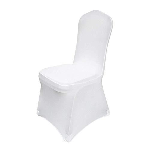 FlowerW 50 Stücke Weiß Stuhlabdeckung Stuhlabdeckung Elasthan Abdeckung Dekoration Trauung Bankett(50 stück)