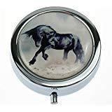 Desert Metall (MaXing Wild Black Hengst in Desert Running Custom Personalized Silver Round Pillendose Box Dekorative Metall Medizindose)