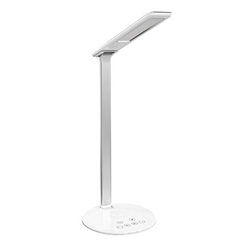 Nourich LED-Schreibtischlampe + Wireless-Ladegerät, [USB-Anschluss] Klappbare Leselampe Dimmer Touch Control Light mit drahtlosem Schnellladegerät [4 Farbmodi] zum Lesen/Studieren/Schlafengehen