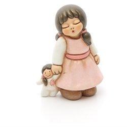 Thun® - bimba con bambola piccola - bomboniera - ceramica - i classici