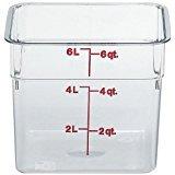CAMBRO Bundle 6Quart (6sfscw135), und 8Quart (6sfscw135) camsquare Essensbehältern, NSF klar Polycarbonat. Inkl. 2rot Deckel passen sowohl die 6& 8Quart Container. -