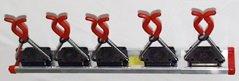 5 Bruns-Gerätehalter auf 50 cm Führungsschiene
