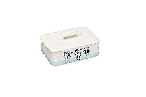 Kitchen Craft Hand gefertigteKeramik Butterdose Cora Cow von Apple Farm mit Deckel, Mehrfarbig, 9.7 x 14.5 x 10 cm Hand, Keramik