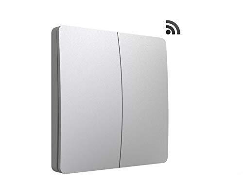codalux Funkschalter / Lichtschalter S-Serie Taster 2 Tasten silber - kinetischer Funklichtschalter ohne Batterie - batterielos piezo außen Feuchtraum wasserdicht IP67 mit 5 Jahren Garantie -