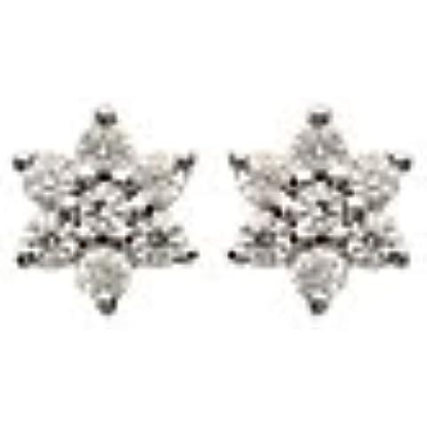 MARY JANE-Orecchini da donna in argento, 5 mm, in argento rodiato 925/000 e zirconi, motivo: stella)