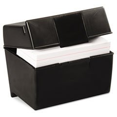 Plastic Index Card Flip Top File Box Holds 400 4 X 6 Cards, Matte Black By: Oxford by Oxford (Index Box Card 4x6 File)