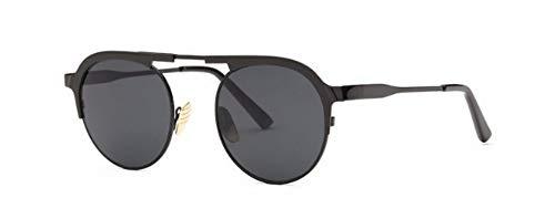 ZJMIYJ Sonnenbrillen Italien Designer Sonnenbrille Frauen Super Light Flex Metall Spiegel Oval Sonnenbrillen für Lady schwarz