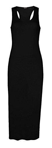 Fast Fashion Frauen Midi Kleid Ärmellose Plain Ringerrücken Muskel Schwarz