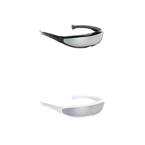 Fenteer 2er Pack Silber verpiegelte Sonnenbrille Futuristische Partybrille -