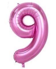 SiDeSo® 1 Folienballon XXL ROSA Heliumgeeignet Party Geburtstag Jahrestag Hochzeitstag Jubiläum Zahlenluftballon Luftballon Zahl (Zahl 9)