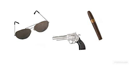 Seemeinthat Gangster-Kostüm-Set mit Pistole, Fake Zigarre, Piloten-Sonnenbrille, Magnum PI Kojak und viele andere Ikonische Namen