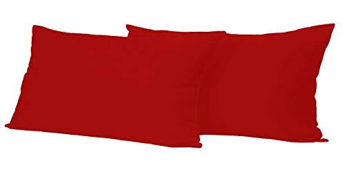 Leonado Vicenti 2 Stück Kissenbezug Baumwolle Renforce 40x60 cm Rot Kissenhülle mit Reißverschluss