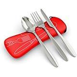 Roaming Cooking Set di posate in acciaio inox (forchetta, coltello, cucchiaio) con custodia da viaggio in neoprene, colore: rosso/blu, super leggere, per campeggi, colore: rosso