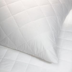 Extra Large Quilted Pillow Protector Pair, White, To fit large pillow, box pillow, polycotton.