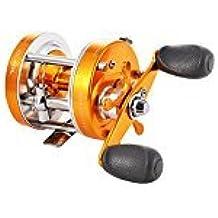 zantec Spinning Carrete de pesca de hielo Baitcaster Carrete con gran tamaño mango Golden mano derecha