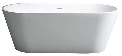 Freistehende Badewanne aus Mineralguss ALMERIA STONE weiß - 170 x 80 cm - Solid Stone (Stone Freistehende Badewanne)