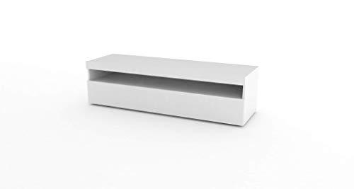 Tecnos Porta TV 130 cm Bianco Lucido, Pannello truciolare Rivestito in melamminico