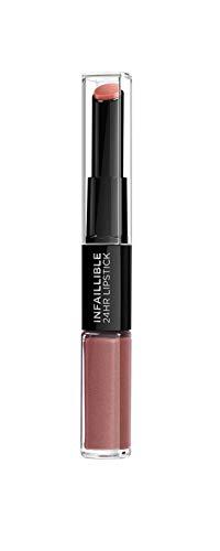 L'Oréal Paris Infaillible 24H 2-Step Lippenstift, langanhaltendes Make-Up für volle Lippen, mit Hyaluron, 312 incessant russ (1 x 6ml)