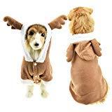 FLAdorepet Weihnachts-Elch-Kostüm für große Hunde, mit Geweih, warm, Fleece, Winterjacke für mittelgroße und große Hunde, 5XL, Brown (Elch Geweih Kostüm)