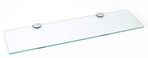 Lunga con ripiano in vetro e supporto cromato bagno camera cucina ufficio, 600mm x 150mm