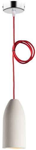 "Pendelleuchte (Betonlampe), Textilkabel\""Rot\"" (26 Farben wählbar), 7,5 x 16 cm, incl. LED (Dimmbar), Esszimmer-Lampe Buchenbusch urban design"