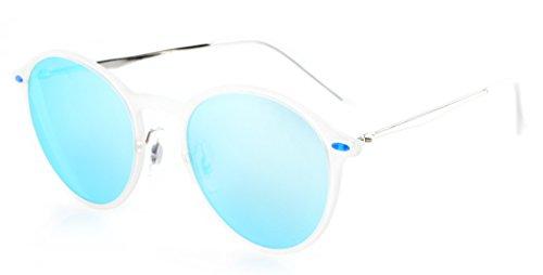 Eyekepper TR-90-Rahmen Runde Revo Spiegel Flash-Objektiv polarisierten Sonnenbrillen Blau Spiegel