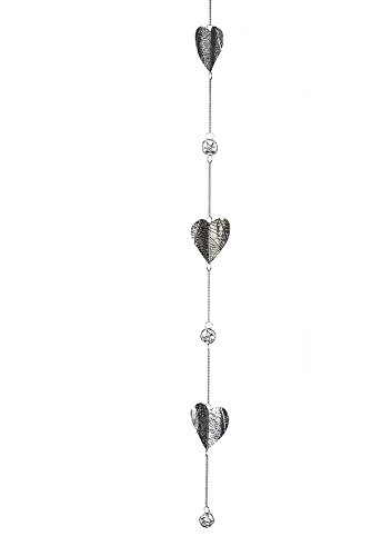 Girlande Hearts Metall vernickelt m. 3 Herzen Höhe 100 cm, Fensterhänger, Fensterdeko