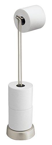 mDesign Toilettenpapierhalter stehend – Papierrollenhalter mit Reserverollen-Aufbewahrung – WC-Rollen Halter aus Metall für Badezimmer und Gäste WC – silber